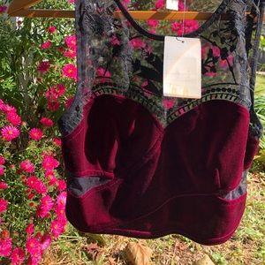 Urban outfitters crop top velvet mesh